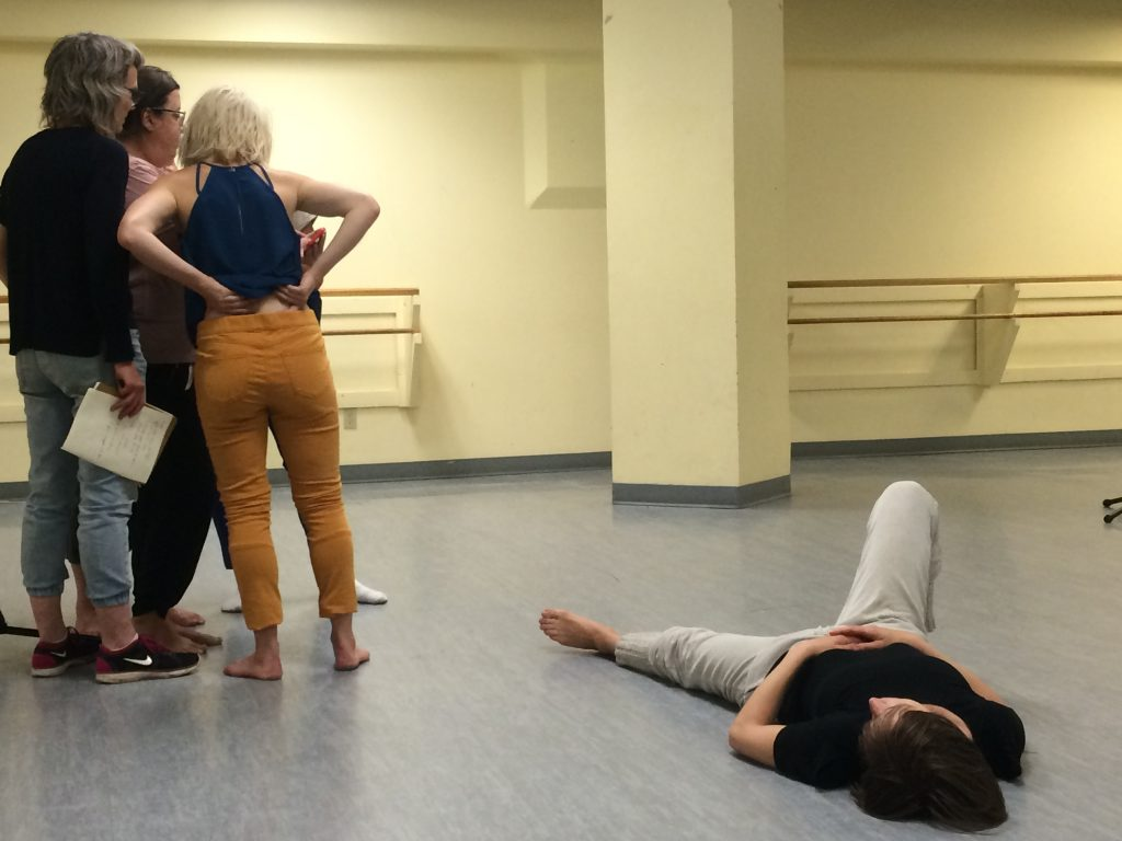 Dancers of Mocean gather to study choreography during rehearsals. Photo: Mikkel Frederiksen