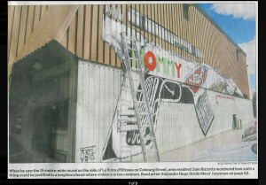 The painting by Alejandro Hugo Dorda Mev was removed by the city services after complaints by inhabitants (screenshot of Deborah Landry's blog)